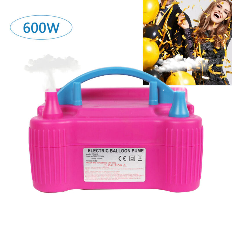 Pink Portable Double Electric Balloon Air Pump Inflator 110V Blower Party USA