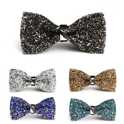 Men's Wear Bow Tie Crystal Glitter Silver Wedding Smart Ball Party Fashion Prom - Glitter Bow Tie