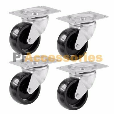 4 Pcs 2 Swivel Caster Wheels Hard Plastic Base With Top Plate Bearing Set