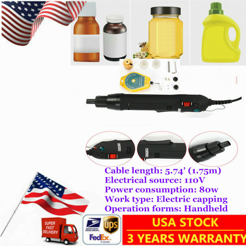 110V! Handheld Electric Bottle Capping Machine Screw Capper For screw Cap US TOP
