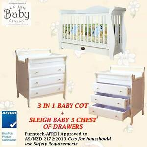 Baby Cot 3 in 1 Curve Design + 3 Drawers Changing Table Value Bun Dandenong South Greater Dandenong Preview