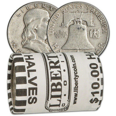 90% Silver Franklin Half Dollars - Roll of 20 - $10 Face Value