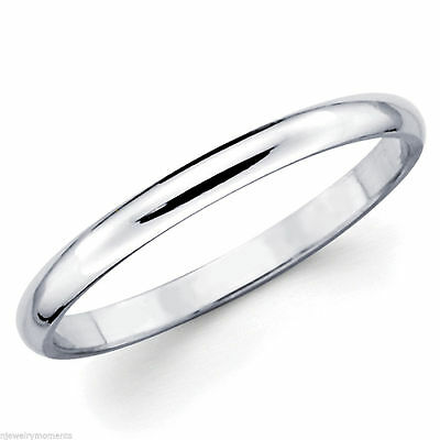 Solid White Gold 10K Women Ladies Girl Wedding Anniversary Band Ring 2mm Size 8