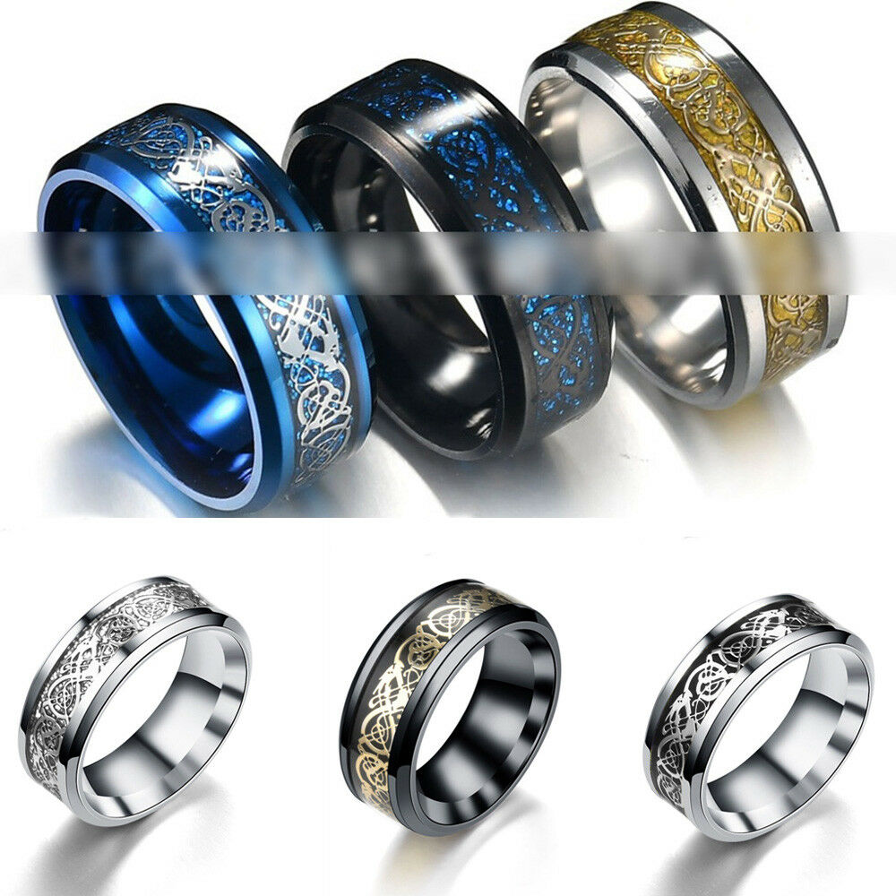 Jewellery - Punk Men Women Dragon Design Rings Jewelry Stainless Steel Band Size 7-11 New
