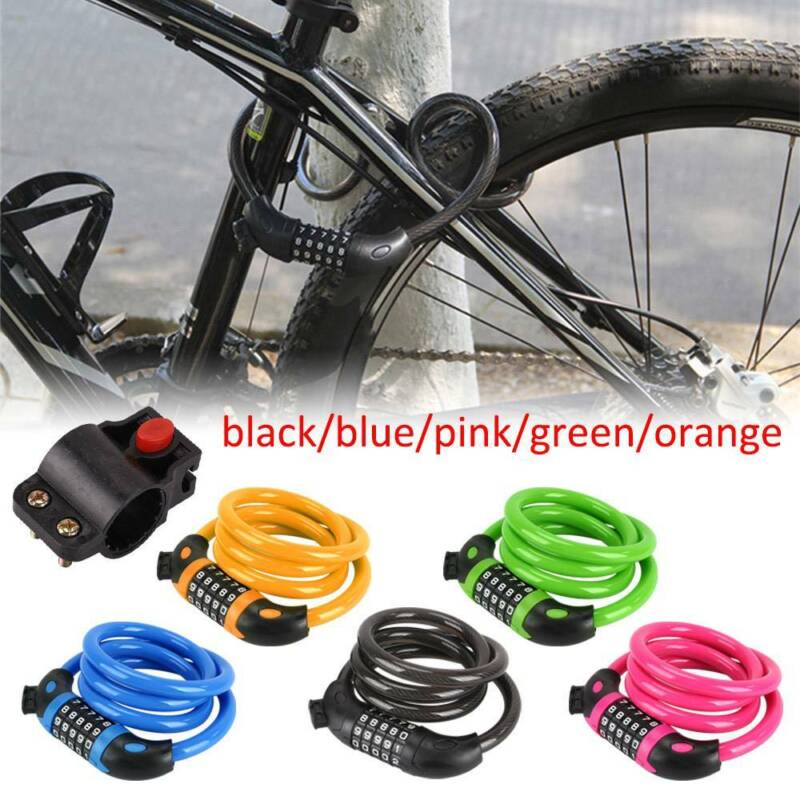 Resettable Security Digit Combination Bike Lock Bicycle Spiral Steel Cable Lock