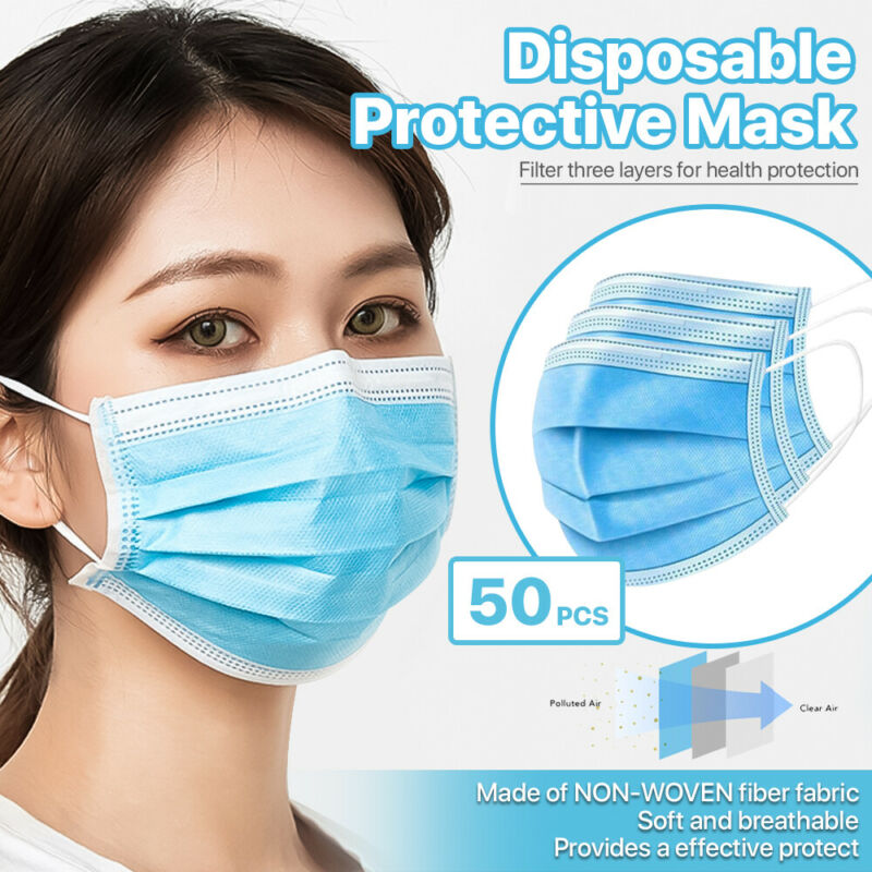 [50 PCS] 3-Ply Disposable Face Mask Non Medical Surgical Earloop Mouth Cover