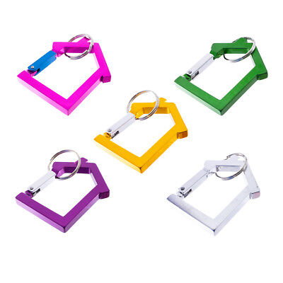 Aluminum House Shaped Carabiner Key Clip with Split Key Ring Multi Color & Pack - House Shaped Key Ring