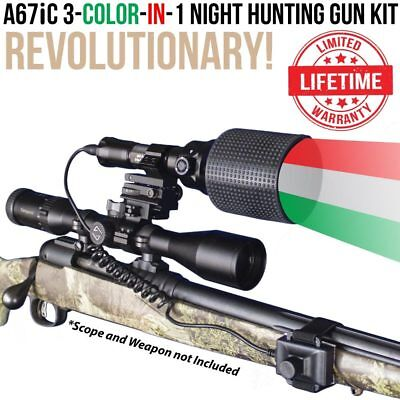 Wicked Lights A67iC 3-Color-In-1 Night Hunting Gun Light Kit coyote, hog - Nite Light Hunting Lights