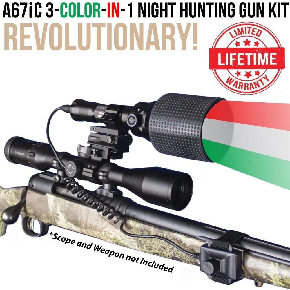 Wicked Lights A67iC 3-Color-In-1 Night Hunting Gun Light Kit