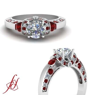 1 carat Round Cut Diamond & Ruby Vintage Looking Engagement Ring Pave Set GIA