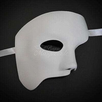 Men's  White Half Masquerade Mask, Phantom of the Opera Venetian Mardi Gras
