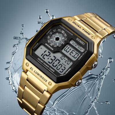 SKMEI Men/Womens Square Stainless Steel Dual Time Zone Digital Watch (Women Dual Time Zone Watch)