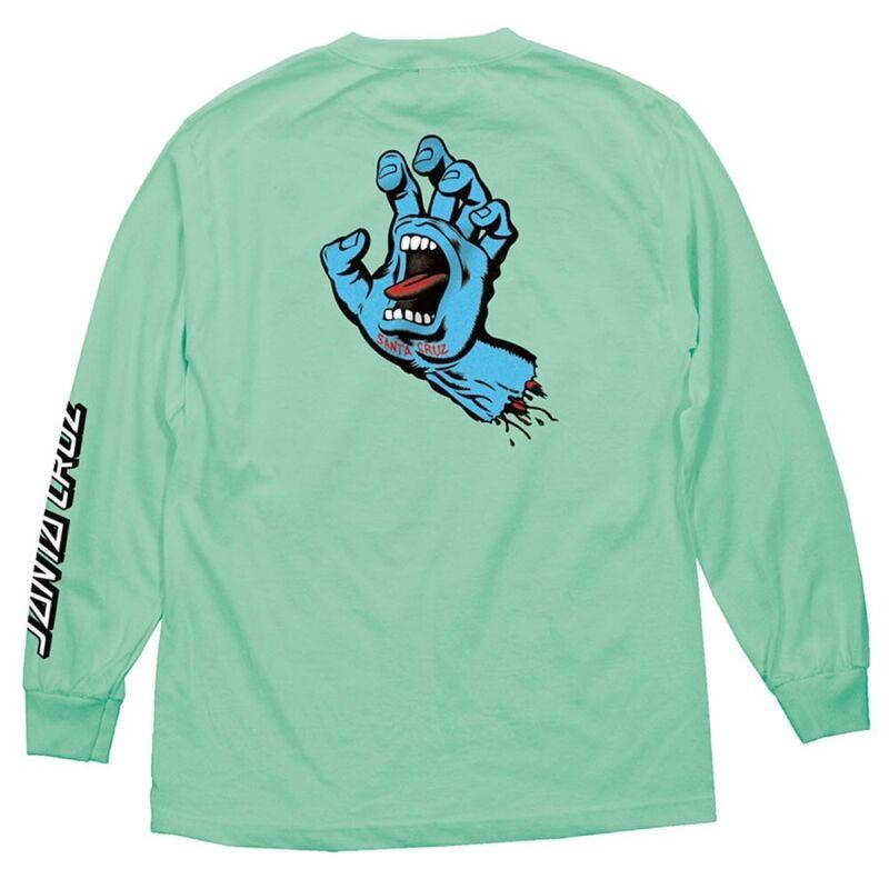 Santa Cruz SCREAMING HAND LONG SLEEVE Skateboard Shirt CELEDON XXL