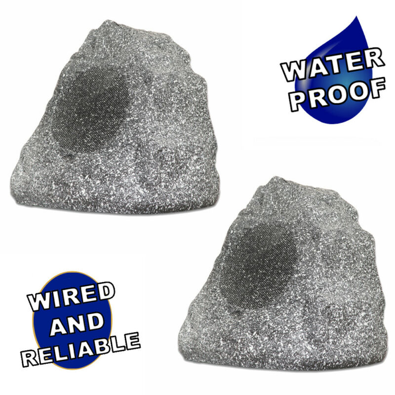 Theater Solutions Full Range Outdoor Granite Rock 2 Speaker Set Deck Patio Pool