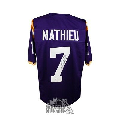 bdb0ec17711 Tyrann Mathieu Autographed LSU Tigers Custom Purple Football Jersey - BAS  COA