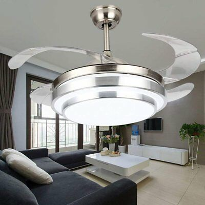 Crystal LED Chandelier Invisible Ceiling Fan Light Ceiling Lamp w/ Remote - Led Fan Light