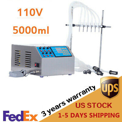 5000ml 6 Heads Liquid Filling Machine Electric Bottle Filler Digital Pump 110v