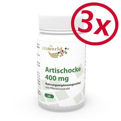 Pack di 3  Estratto di Carciofo 400mg 180 Capsule  Vita World Farmacia Germania