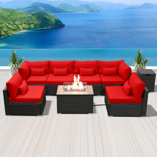 Modenzi G7 Outdoor Wicker Patio Furniture with Rectangular Fire Pit Red