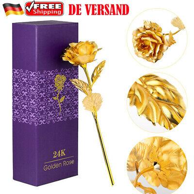 Neu Goldene Gold Rose mit 24K Gold vergoldet Muttertag Geburtstag Geschenk Vergoldete Rose