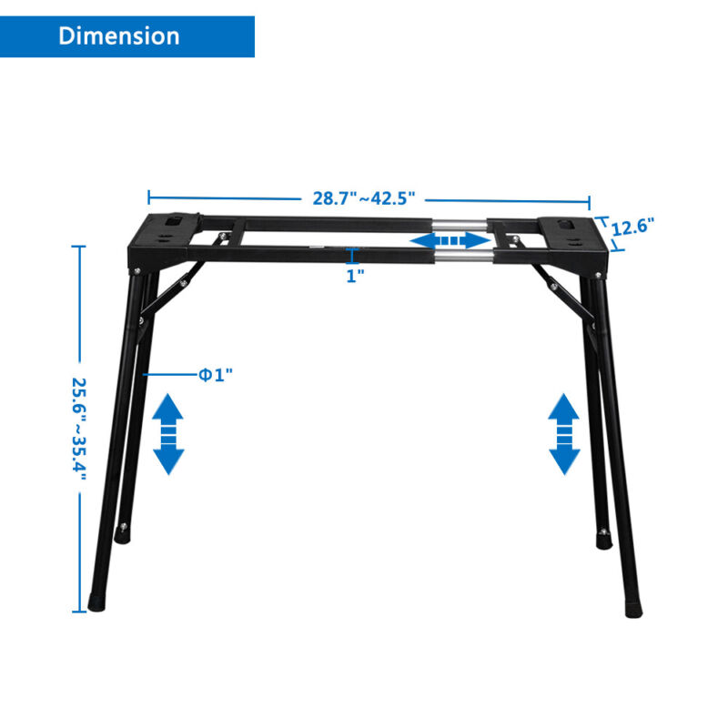 Glarry Foldable Retractable Portable Electronic Keyboard Stand Heavy Duty