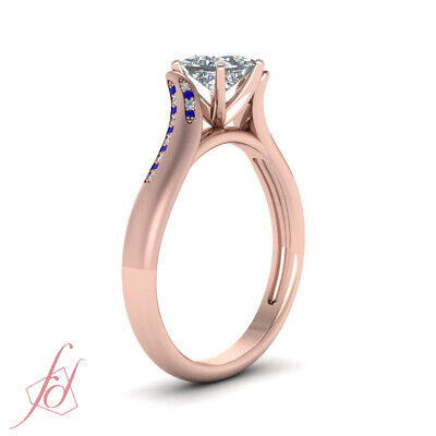 Affordable Engagement Ring With 0.65 Carat Princess Cut Diamond & Sapphire GIA 2