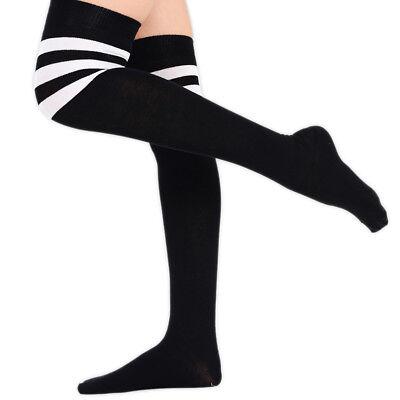 Mädchen Gestreifte Socken Damen Schiedsrichter Überall Kniestrümpfe - Schiedsrichter Kostüm Kind