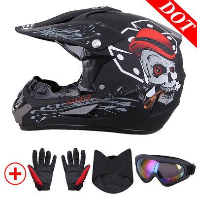 Dot Adult ATV Motocross Dirt Bike Mountain Off-road Helmets Goggles+Mask+Gloves -
