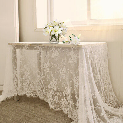 Floral Lace Tablecloth White Vintage Large Table Cloth Cover Wedding Party Decor (Lace Table Cloth)