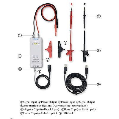 Micsig Dp10013 Oscilloscope High Voltage Differential Probe Kit 1300v 100mhz