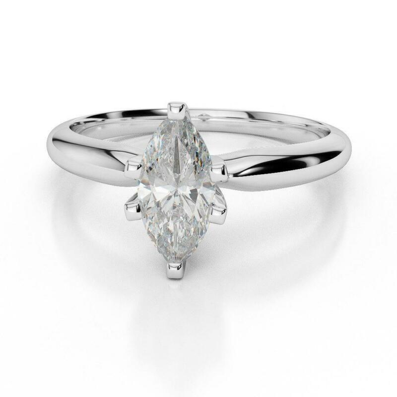 Marquise Cut Diamond Ring Real Elegant Si2 Lady 1.19 Carats 18k White Gold