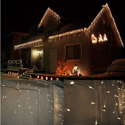 Kids Safe! Outdoor 6M Wide 300 LED Icicle Snowing Christmas Fairy Lights Warm