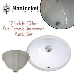 NEW Nantucket Sinks UM-13x10-W 13-Inch by 10-Inch Oval Ceramic Undermount Vanity Sink, White Condtion: New