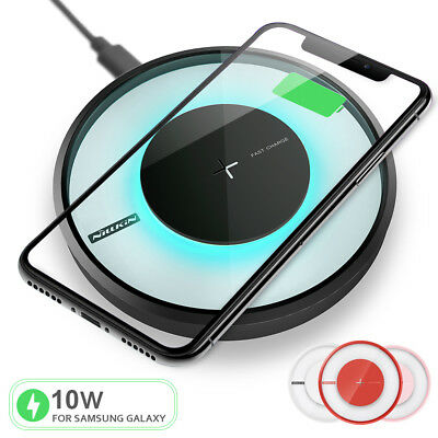 Qi Fast Wireless Charger Charging Pad for iPhone X/8/Plus Galaxy Note 9/8/S9/S8