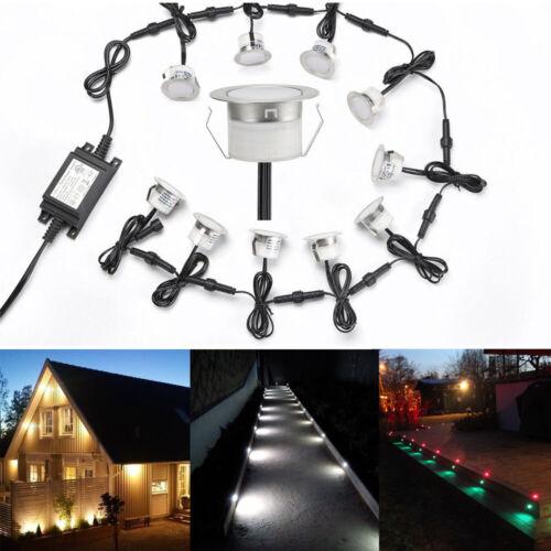 1-50er Set 45mm 12V LED Boden Einbaustrahler Beleuchtung Terrasse Garten Lampe