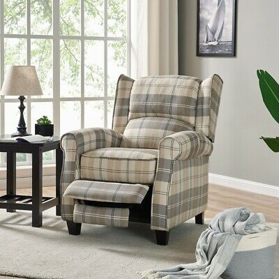 Beige Tartan Recliner Armchair Living Room Furniture Home Living Armchair