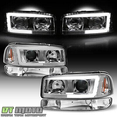 - 1999-2006 GMC Sierra Yukon LED Tube Projector Headlights Headlamps+Bumper Lights