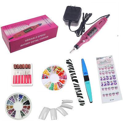 ELECTRIC Nail Acrylic Pink Art File Drill Kit Bits Salon Manicure Pen Machine