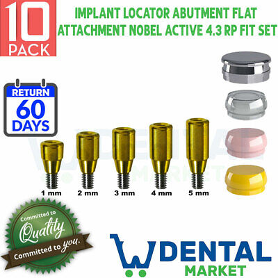 X 10 Implant Locator Abutment Flat 1-5 Attachment Nobel Active 4.3 Rp Fit Set