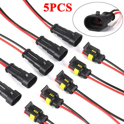 5 Pair 2 Pins Way 12V Car Electrical Wire Connector Plug Cable Waterproof New