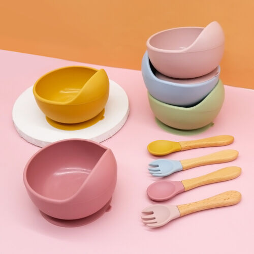Baby Suction Bowl With Bamboo Spoon Plate Feeding Set Dishes Food Grade Silicone