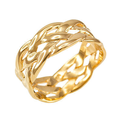 10k Solid Yellow Gold Celtic Braided Weave Wedding Band Ring