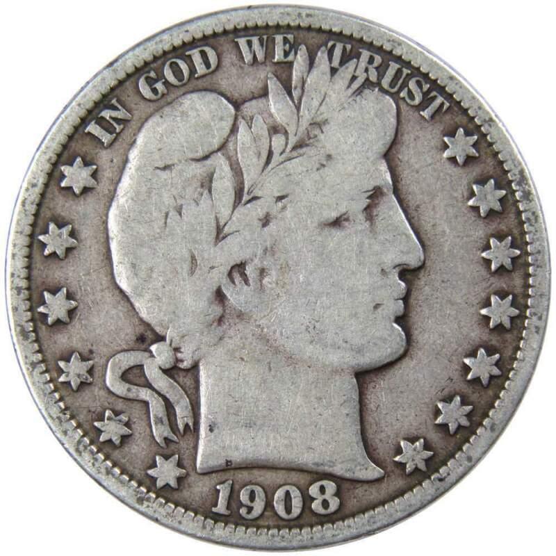 1908 O 50c Barber Silver Half Dollar US Coin VG Very Good