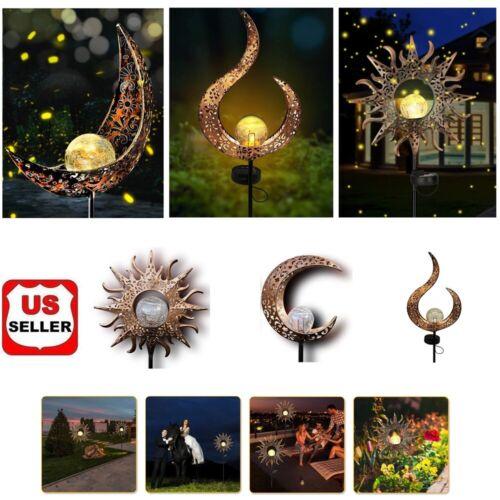 Solar Garden LED Lights Outdoor Metal Decorative Stake Light Crackle Glass Globe Home & Garden
