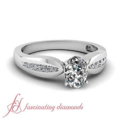 .65 Ct Oval Shaped Cut:Very Good Diamond Tapered Engagement Ring Channel Set GIA