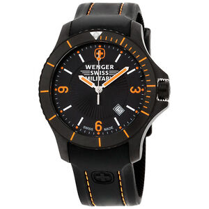 Wenger-Swiss-Military-Black-Dial-Silicone-Strap-Men-039-s-Watch-79031