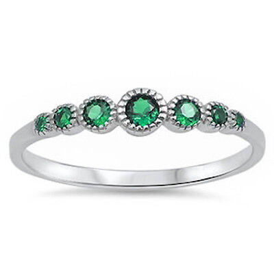 Seven Round Green Emerald .925 Sterling Silver Ring Sizes 4-