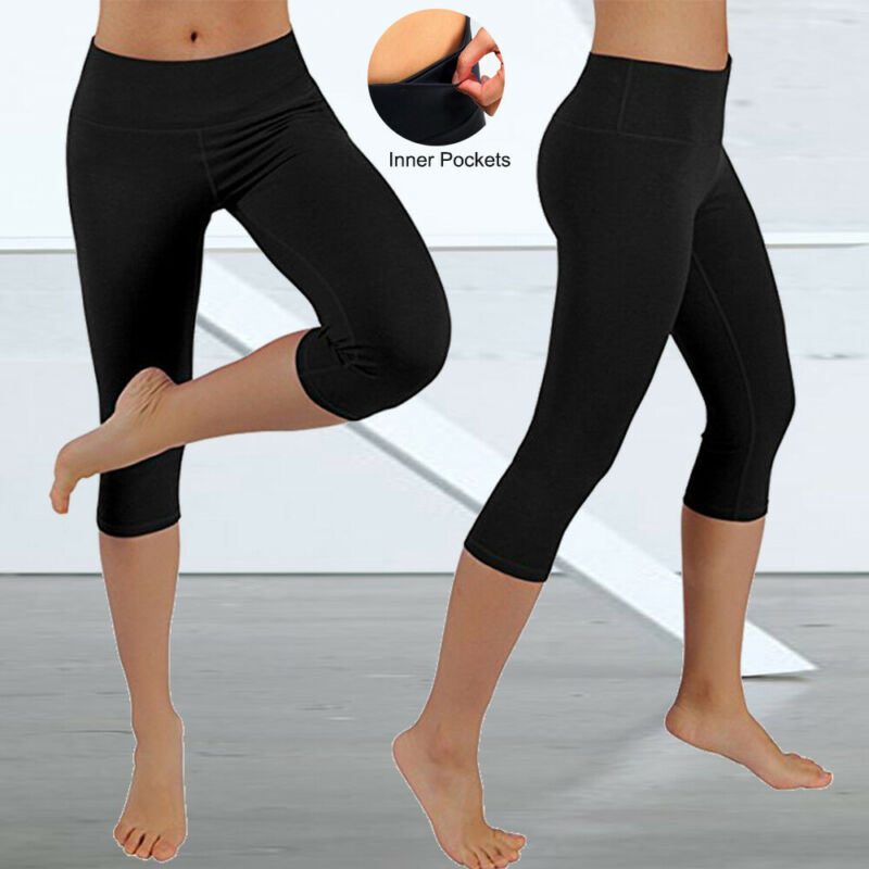 Womens Capri YOGA Pants Pockets Run Gym Sport Fitness Cropped Leggings Workout 14