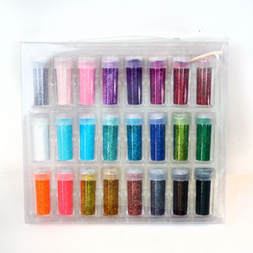 Fine Glitter Bottle Sparkle Confetti Arts and Crafts, 25 Gram (.35 Oz) 24 Pcs