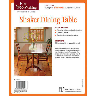 Shaker Dining Table Printed Plan